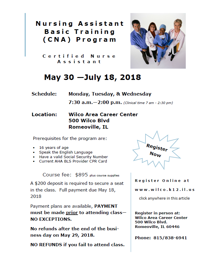 Wilco Area Career Center Summer Cna Course Enroll Now